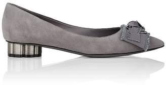 Salvatore Ferragamo Women's Flower-Heel Suede Flats