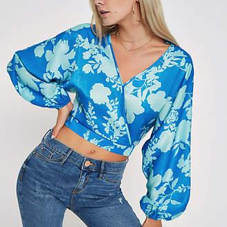 River Island Womens Petite Blue floral print wrap crop top