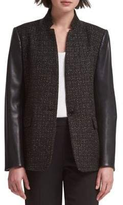 DKNY Textured Stand Collar Jacket
