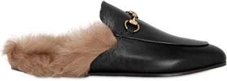 Gucci 10mm Princetown Leather & Fur Mules