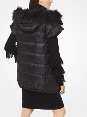 MICHAEL Michael Kors Quilted Satin and Faux Fur Puffer Vest