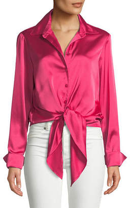Finley Lindy Button-Front Long-Sleeve Satin Blouse w/ Tie-Front