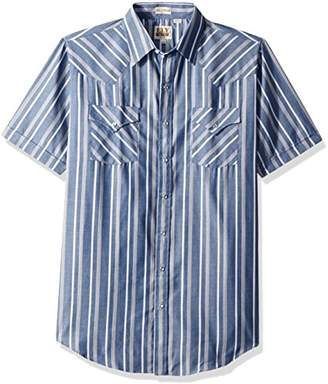 Ely & Walker Men's Size Short Sleeve Stripe Western Shirt-Tall
