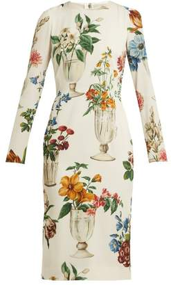 Dolce & Gabbana Floral And Vase Print Silk Blend Crepe Dress - Womens - White Multi