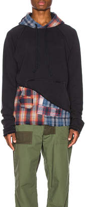 Greg Lauren Mixed Plaid Hoodie in Black & Orange & Blue   FWRD