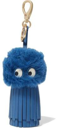 Anya Hindmarch Ghost Shearling And Leather Tassel Keychain