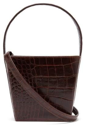 Staud - Edie Crocodile Effect Leather Bucket Bag - Womens - Brown