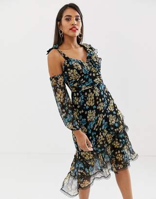 Talulah Stormy Dawn asymmetric floral dress