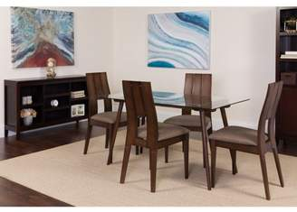 Flash Furniture Carson 5 Piece Espresso Wood Dining Table Set with Glass Top and Curved Slat Keyhole Back Wood Dining Chairs - Padded Seats