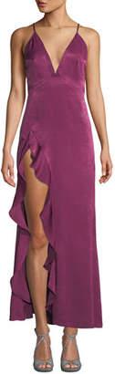 Donna Mizani Madame High-Slit Crisscross-Back Dress