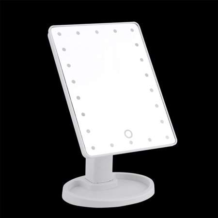 Eagle Rings 22 LED Cosmetic Mirror 360 Degree Swivel Makeup Mirror With Touch Screen (White)