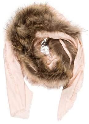 Fendi Fur-Trimmed Wool & Silk-Blend Scarf