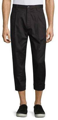 Helmut Lang Single-Pleat Cuffed Trousers, Black $360 thestylecure.com