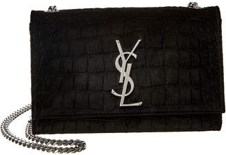 Saint Laurent Kate Croc-Embossed Velvet Shoulder Bag