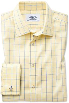 Charles Tyrwhitt Classic Fit Non-Iron Prince Of Wales Yellow and Royal Blue Cotton Dress Shirt French Cuff Size 15.5/37