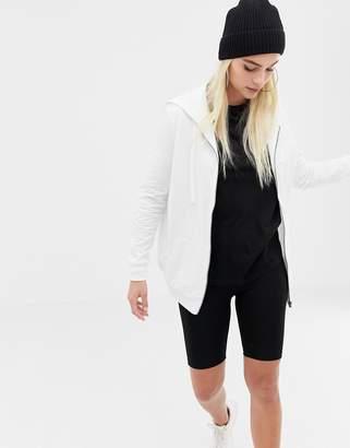 Asos DESIGN zip through hoodie in white