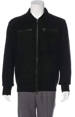 John Varvatos Lambskin-Trimmed Knit Jacket