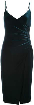 Black Halo slit-detail fitted dress