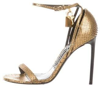 Tom Ford Metallic Snakeskin Sandals