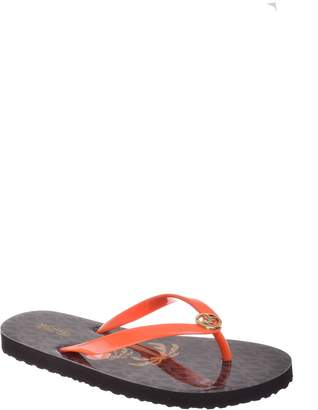 Michael Kors Womens Flip Flop Shiny Open Toe Beach, Orange, Size 6.0