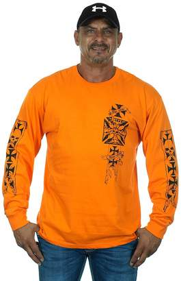 83ca441e5ca JH DESIGN GROUP Mens Graphic Print Iron Cross   Skull Design Long Sleeve  Biker T-