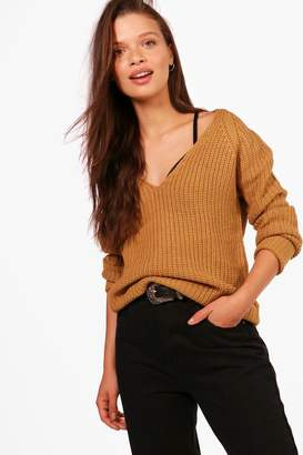 boohoo Amy V-Neck Fisherman Jumper