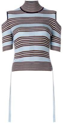 Fendi striped cold-shoulder top