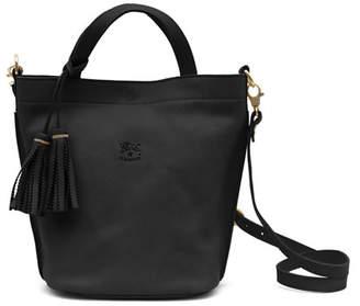Il Bisonte Cowhide Leather Bucket Bag, Black