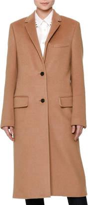 Valentino Long Wool Coat w/Rockstud Collar, Camel