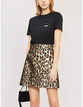 Miu Miu Leopard-pattern metallic-jacquard mini skirt