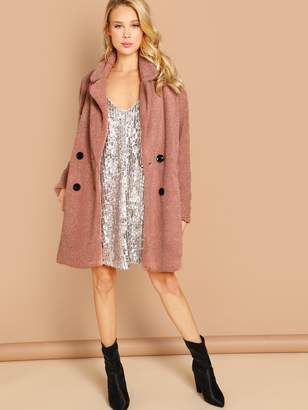 Shein Double Button Solid Teddy Coat