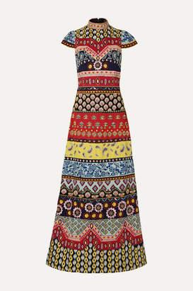 Alice + Olivia Alice Olivia - Arwen Open-back Embellished Embroidered Cotton Maxi Dress
