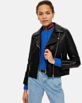 PETITE Blossom Leather Look Jacket