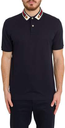 Gucci Cotton Polo With Web And Feline Head