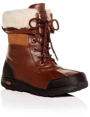UGG Girls' Butte II Waterproof Leather Cold-Weather Boots - Little Kid, Big Kid