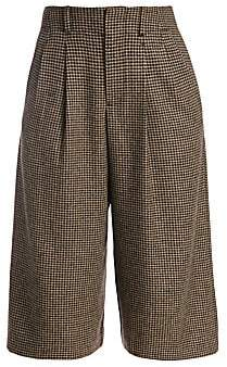 Alice + Olivia Women's Eloise Houndstooth Wide-Leg Crop Silk & Wool-Blend Pants