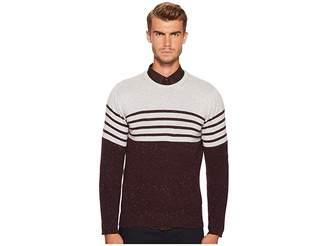 Eleventy Stripe Donegal Cashmere Crew Neck Men's Sweater