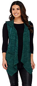 LOGO by Lori Goldstein Sweater Knit Hooded Vestwith Pockets