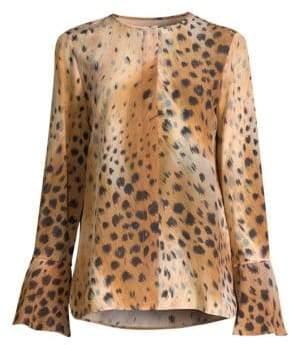Lafayette 148 New York Izzie Leopard-Print Blouse