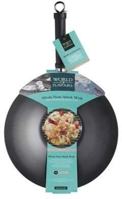 Kitchen Craft World Of Flavours Oriental Carbon Steel Non-Stick Wok, 30Cm