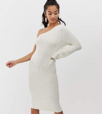 Asos DESIGN Petite one shoulder knitted midi dress
