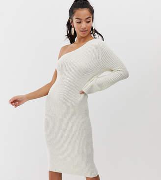 Asos DESIGN Petite one shoulder knitted midi dress