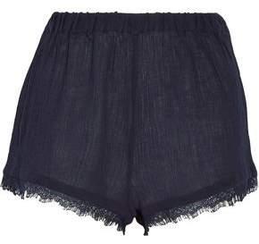 Skin Lace-Trimmed Crinkled Cotton-Gauze Pajama Shorts