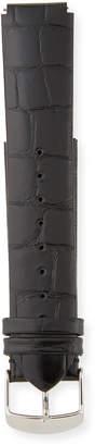 Philip Stein Teslar Alligator-Print Watch Strap, Black, 20mm