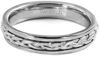 Celtic TwoBirch Sterling Silver Plain Braided Infinity Men's Wedding Ring(crt)
