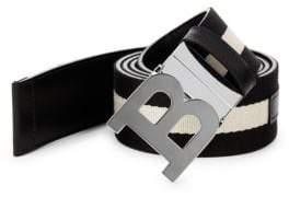 Bally B Buckle Canvas Leather Belt