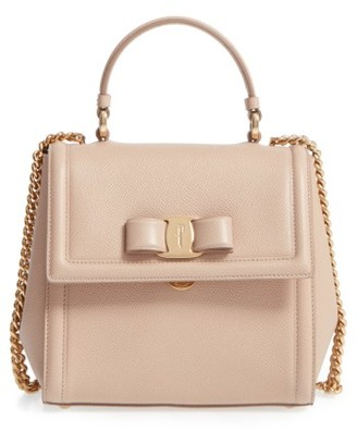 Salvatore Ferragamo Small Leather Bow Satchel - Beige $1,250 thestylecure.com