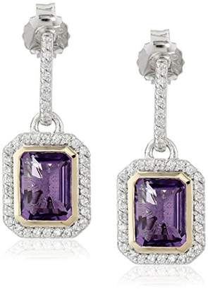 Amethyst and Created White Sapphire Dangle Earrings in Sterling Silver and 14k Yellow Gold
