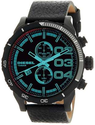 Diesel Men's Double Down Chronograph Leather Watch, 50mm