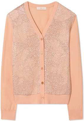 Tory Burch FLORAL CLOQUE-FRONT CARDIGAN